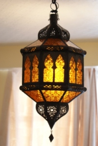 moroccan lantern with amber panels.