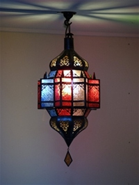 handmade moroccan lantern with multicoloured panels.