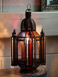 stunning mosque candle lantern with clear and coloured glass.