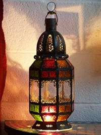 stunning lantern with clear and multi coloured panels can be used as a lantern or candle lantern