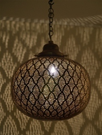 spectacular large antique brass moroccan lantern with coloured glass.