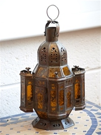 handmade moroccan candle lantern with amber panels.