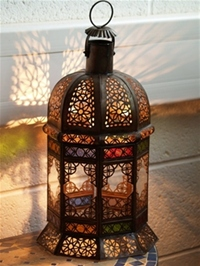 stunning lantern with clear and coloured glass.