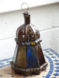 handmade moroccan candle lantern with coloured panels.