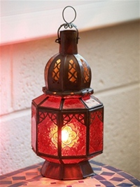 moroccan candle lantern with red coloured glass.