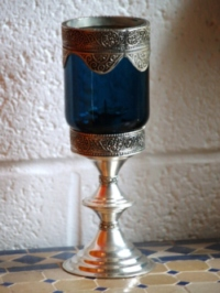 moroccan blue candle holder.