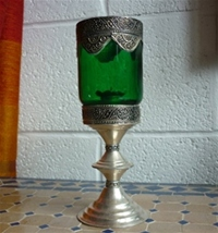 moroccan green candle holder.