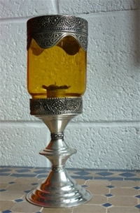moroccan yellow candle holder.