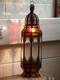 stunning moroccan lantern with clear and colour glass.