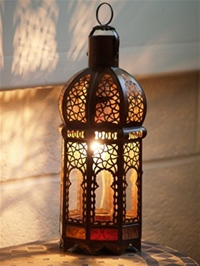 stunning lantern with clear and colour glass.