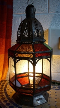 moroccan lantern with clear and coloured panels.