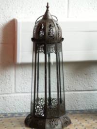 handmade moroccan candle lantern with clear panels.