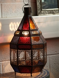 moroccan lantern with clear & coloured panels.