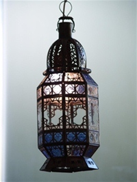 Stunning lantern with clear and blue coloured panels. 