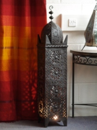 tall moroccan iron candle lantern.