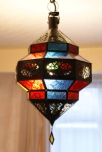 handmade moroccan lantern with coloured panels.
