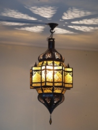 handmade moroccan lantern with amber panels.