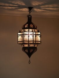handmade moroccan lantern with clear panels.