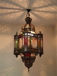 beautiful large moroccan mosque lantern with clear and coloured glass.