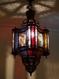 stunning moroccan mosque lantern with clear and coloured glass.
