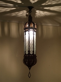 moroccan lantern with clear panels.