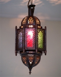 moroccan lantern with coloured panels.