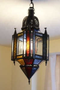 moroccan lantern with clear and coloured glass.