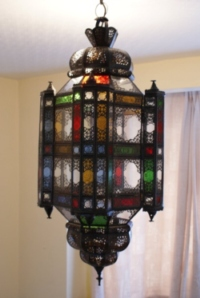 stunning large moroccan lantern with clear and coloured panels.