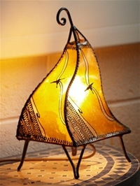 handmade moroccan henna lamp with yellow and henna design.