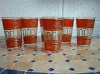 set of six moroccan tea glasses in saffron.
