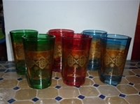set of 6 moroccan tea glasss in in a selection of vibrant colours with gold design.  £17.00