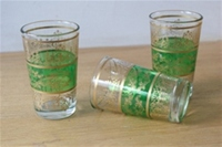 set of six moroccan tea glasses in green with gold design.  £17