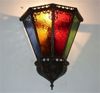moroccan wall lamp with coloured glass.