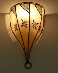 moroccan henna wall lamp with henna design.