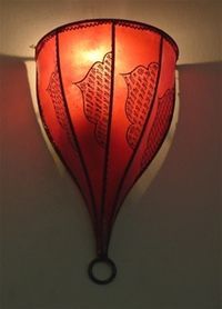 moroccan red henna wall lamp with henna design