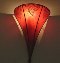 Moroccan Henna Wall Lamp - WHL6 Red