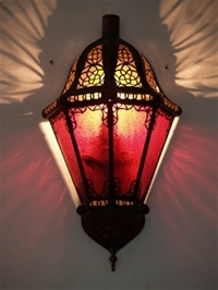 Moroccan Glass Wall Lamp - WGL8 Red