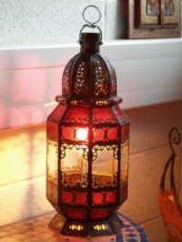 stunning lantern with clear and red glass. 
