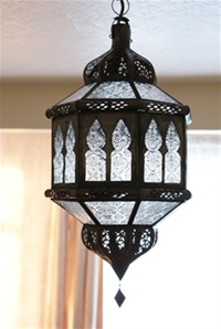 moroccan lantern with clear textured panels.