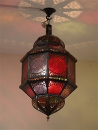 Moroccan lantern with coloured panels. £69.95