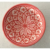 authentic moroccan safi ceramic pottery bowl - coral