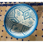 Moroccan Safi ceramic pottery bowl - Blue/White (1)