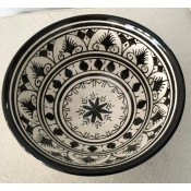 authentic handmade moroccan black and white safi ceramic pottery bowl