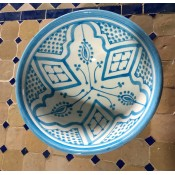 moroccan safi ceramic pottery bowl - blue/white