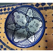 moroccan safi ceramic pottery bowl - blue