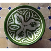 moroccan safi ceramic pottery bowl - green & white