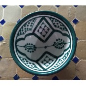 Moroccan Safi ceramic pottery bowl - Green/White