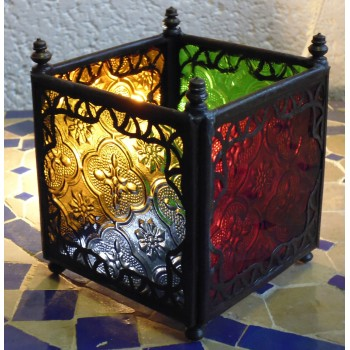 square candle lantern with coloured glass.