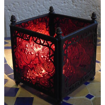 square candle lantern with red coloured glass.