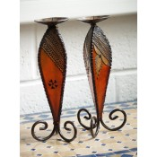 two moroccan henna candle holder - amber